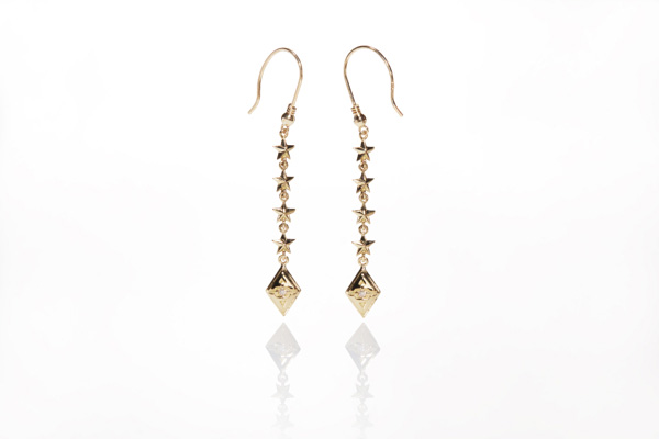 STAR TYPE GOLD & DIAMOND EARRINGS