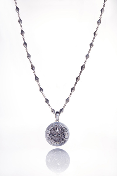 NO.002 COIN DESIGN SILVER & DIAMOND PENDANT